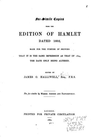 Fac-simile Copies from the Edition of Hamlet Dated 1605