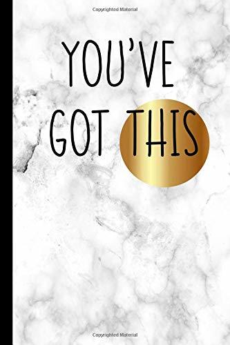 Marble Notebook 6x9 College Journal with Saying Youve Got This Back to School Gift for Teenage Girls College Student Ladies Women Name Tag on the Soft Glossy Cover