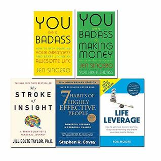 You are a badass jen sincero, my stroke of insight, 7 habits of highly effective people, life leverage 5 books collection set