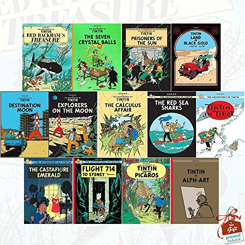 The Adventures of Tintin Books Collection Series 3 to 5 :13 Books Set inc Red Rackham's Treasure, The Seven Crystal Balls, Prisoners of the Sun, Land of Black Gold, Destination Moon, Explorers