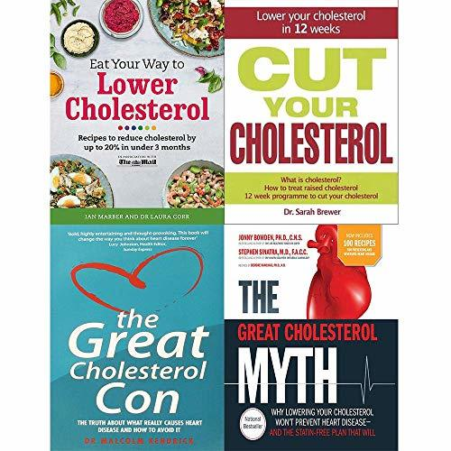 Eat your way to lower cholesterol, cut cholesterol [hardcover], great cholesterol con and myth 4 books collection set
