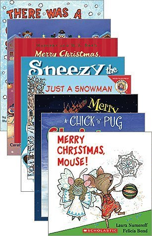Award Winning Holiday Set of 10 Paperback Books Includes Merry Moosey Christmas, Snowman at Christmas, It's Christmas David, Sneezy the Snowman, Chick N Pug, There was an Old Lady, etc
