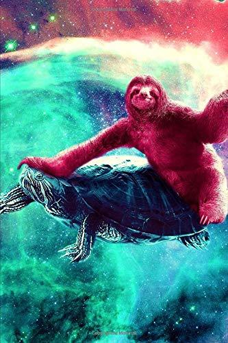 Space Sloth Rides A Turtle Notebook: 2019 Weekly Planner with Note Paper Section