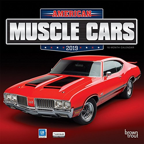 American Muscle Cars 2019 7 x 7 Inch Monthly Mini Wall Calendar, Racing Ford Chevrolet Chrysler Oldsmobile Pontiac