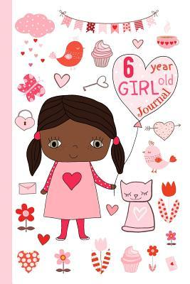 6 Year Old Girl Journal: Happy Birthday Notebook Wide Ruled and Blank Framed Sketchbook Pages Diary for Six Year Old Kids to Keep Memories, Draw and Sketch - Cute Girly Design in Pink and Red