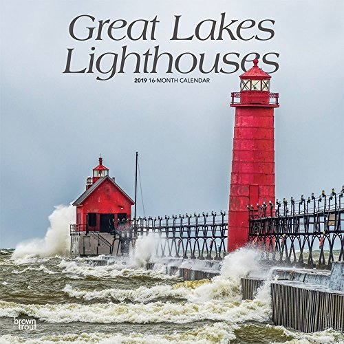 Great Lakes Lighthouses 2019 12 x 12 Inch Monthly Square Wall Calendar, USA United States of America Nature Lake