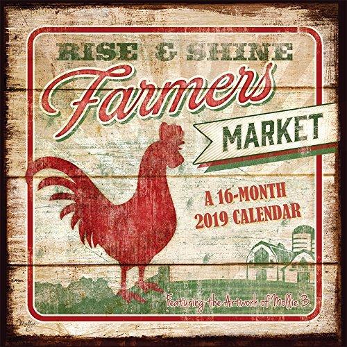 Farmer's Market 2019 12 x 12 Inch Monthly Square Wall Calendar by Hopper Studios, Food Art Artwork