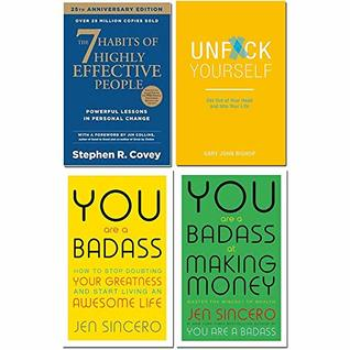 7 Habits of highly effective people, unfck yourself, you are a badass, you are a badass at making money 4 books collection set