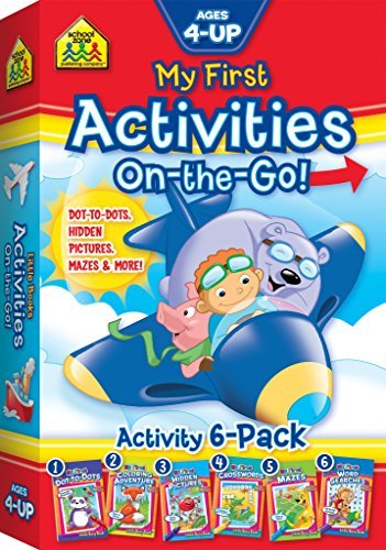 SCHOOL ZONE - My First Activities On-The-Go 6-Pack of Little Busy Books, Ages 4 and Up, Colors, Shapes, Numbers, Counting, Rhyming, Vocabulary, Problem-Solving, and More!