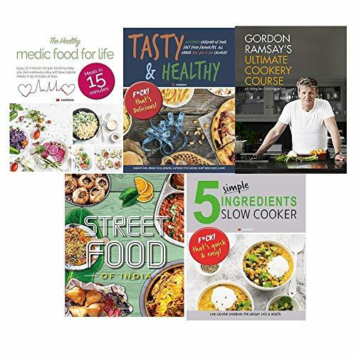 Ultimate cookery course [hardcover], tasty and healthy, indian street food, food medic for life, 5 simple ingredients slow cooker 5 books collections set