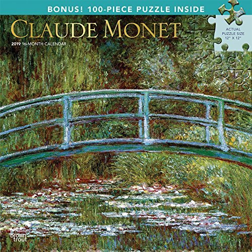 Claude Monet 2019 12 x 12 Inch Monthly Square Wall Calendar & Puzzle Set with Foil Stamped Cover, Impressionist Impressionism Art Artist