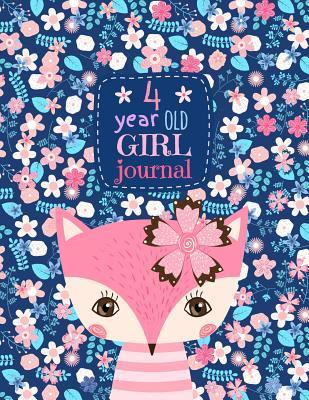 4 Year Old Girl Journal: Happy Birthday Notebook Wide Ruled and Blank Framed Sketchbook, Cute Pink Fox Diary for Four Year Old Kids to Keep Memories, Draw and Write