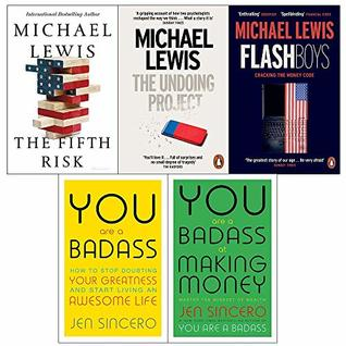 Fifth risk [hardcover], the undoing project, flash boys, you are a badass, making money 5 books collection set