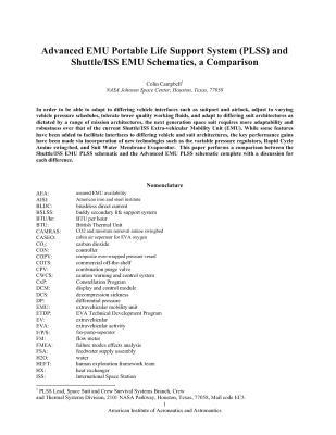 Advanced Emu Portable Life Support System (Plss) and Shuttle/ISS Emu Schematics, a Comparison