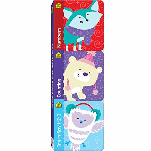 School Zone - Early Math Mini Board Books - Numbers, Counting, and Try-n-Spy 1-2-3, Ages 1 month+, Numbers, Counting, Focus, Imagination, Math ... Association (Mini Holiday Board Book 3 Pack)