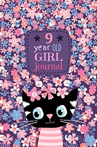 "9 Year Old Girl Journal: Cute Cat Diary for Kids to Keep Memories, Draw and Sketch, Happy Birthday Notebook Wide Ruled and Blank Framed Sketchbook Pages, Soft Cover 50 sheets/100 pages, 6"" x 9"""