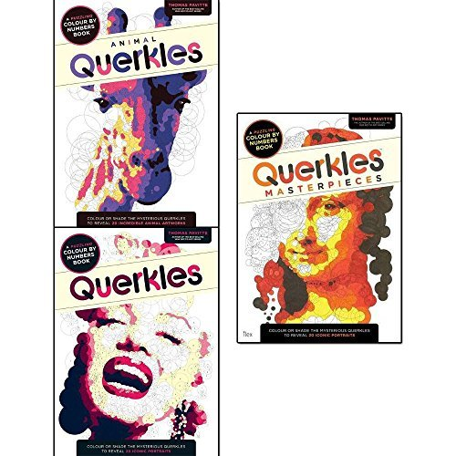 querkles colouring books collection 3 books set by thomas pavitte (animal querkles: a puzzling colour-by-numbers book, querkles, querkles: masterpieces)