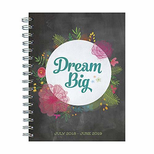 "TF Publishing 19-9243A July 2018 - June 2019 Dream Big Medium Weekly Monthly Planner, 6.5 x 8"", Black & White"