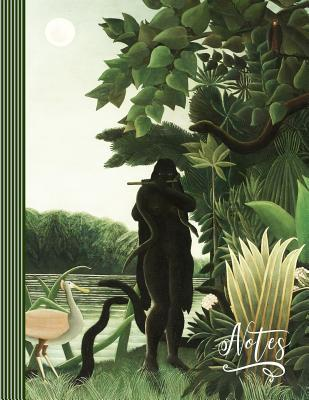 Notes: Artist Notebook (Large) - Blank College Ruled Lined Writing and Journaling Paper Composition Book - Henri Rousseau Green Jungle Landscape the Snake Charmer Painting