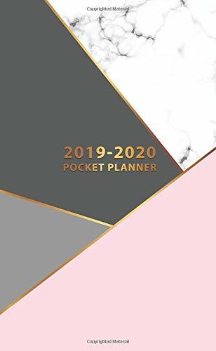 2019-2020 Pocket Planner: Cute Pink Marble Two-Year Monthly Pocket Planner with Phone Book, Password Log and Notebook. Pretty Golden Calendar, Organizer and Agenda.