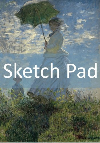 """Sketch Pad: Blank Pad For Your Sketches! (Claude Monet - Woman With A Parasol) (50 Pages, 7"""" x 10"""")"""