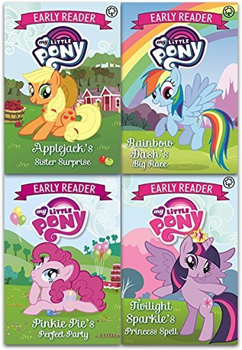 My Little Pony Early Reader Collection 4 Books Set (Applejack's Surprise, Twilight Sparkle's Princess Spell, Pinkie Pie's Perfect Party, Rainbow Dash's Big Race)