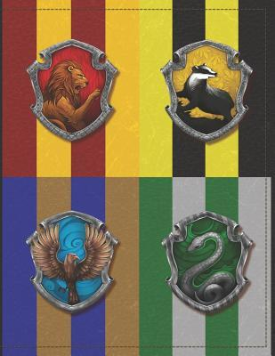 Hogwarts Houses, Gryffindor, Hufflepuff, Ravenclaw, Slytherin, Harry Potter Journal Notebook: Medium College Ruled Notebook, 140 Page, Lined 8.5 X 11 in (21.59 X 27.94 CM)
