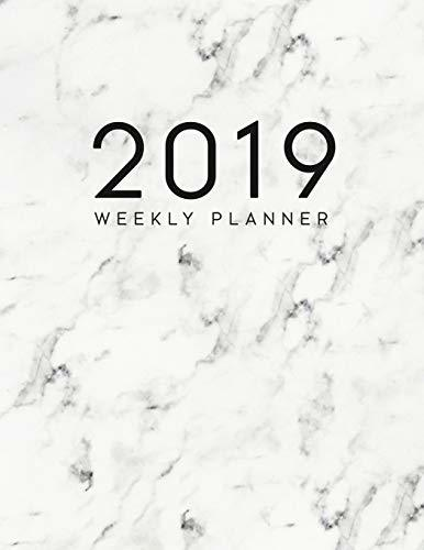 2019 Weekly Planner: Daily and Monthly Planner Calendar Organizer Agenda (January 2019 to December 2019) White Marble
