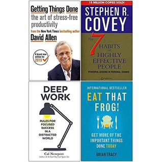 Getting Things Done, 7 Habits of Highly Effective People, Deep Work, Eat That Frog 4 Books Collection Set