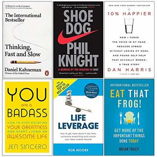 Thinking Fast and Slow, Shoe Dog, 10% Happier, You Are a Badass, Life Leverage, Eat That Frog 6 Books Collection Set