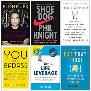 Elon Musk, Shoe Dog, 10% Happier, You Are a Badass, Life Leverage, Eat That Frog 6 Books Collection Set