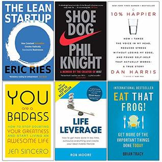 Lean Startup, Shoe Dog, 10% Happier, You Are a Badass, Life Leverage, Eat That Frog 6 Books Collection Set