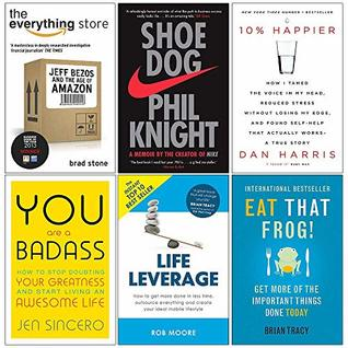 The Everything Store, Shoe Dog, 10% Happier, You Are a Badass, Life Leverage, Eat That Frog 6 Books Collection Set