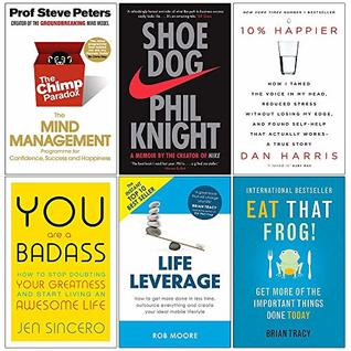Chimp Paradox, Shoe Dog, 10% Happier, You Are a Badass, Life Leverage, Eat That Frog 6 Books Collection Set