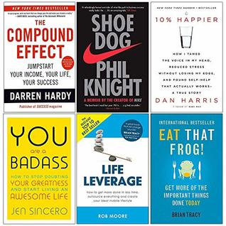 Compound Effect, Shoe Dog, 10% Happier, You Are a Badass, Life Leverage, Eat That Frog 6 Books Collection Set