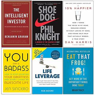 Intelligent Investor, Shoe Dog, 10% Happier, You Are a Badass, Life Leverage, Eat That Frog 6 Books Collection Set