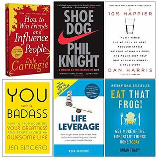 How to Win Friends and Influence People, Shoe Dog, 10% Happier, You Are a Badass, Life Leverage, Eat That Frog 6 Books Collection Set
