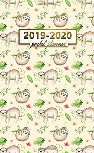 2019-2020 Pocket Planner: Two-Year Monthly Sloth Pocket Planner with Phone Book, Password Log and Notebook. Nifty Tropical 24 Month Agenda, Calendar and Organizer.
