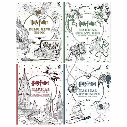 Harry Potter Colouring Book 1-4 Books Collection Set (Harry Potter Colouring Book, Magical Creatures, Magical Places and Characters, Magical Artefacts)