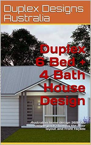 Duplex 6 Bed + 4 Bath House Design: Australian home design 269.6du sample pack showing the floor layout and front façade