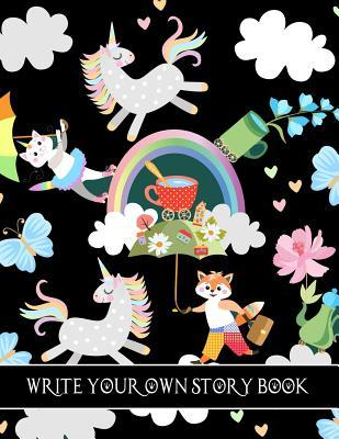 Write Your Own Story Book: Cute Unicorn & Fox Draw and Write, Create Your Own Story for Kids Draw It Yourself Blank Journal, Young Writers Large Composition Notebook