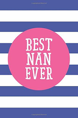 Best Nan Ever: 6x9 Lined Personalized Writing Notebook Journal, 120 Pages – Blue Stripes with Pink Family Name and Funny, Inspirational Quote