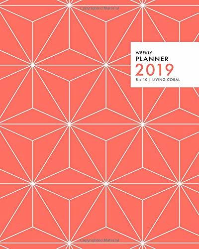 Weekly Planner 2019, 8x10, Living Coral: Full-Year Weekly & Monthly Planner, Juanuary Through December 2019, Orange-Red Front Cover With Pattern (High Performance 2019)