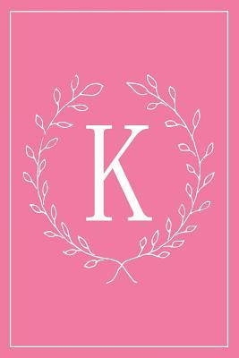 K: Hot Pink Monogram Initial Blank Lined Journal Notebook for Women and Girls Pre-Teens and Up