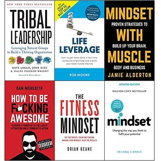 Tribal leadership, life leverage, mindset with muscle, how to be fucking awesome, fitness mindset and mindset carol dweck 6 books collection set