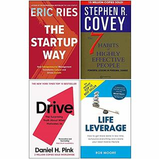 The Startup Way, 7 Habits of Highly Effective People, Drive Daniel Pink, Life Leverage 4 Books Collection Set