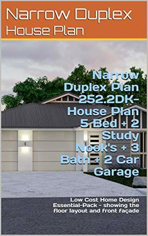 Narrow Duplex Plan 252.2DK- House Plan 5 Bed + 2 Study Nook's + 3 Bath + 2 Car Garage: Low Cost home design Essential-Pack - showing the floor layout and front façade