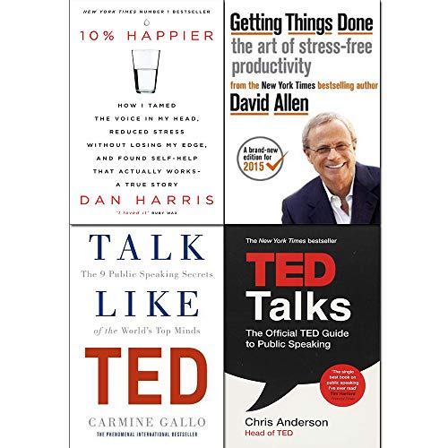 Getting Things Done, 10% Happier, Talk Like TED, TED Talks 4 Books Collection Set