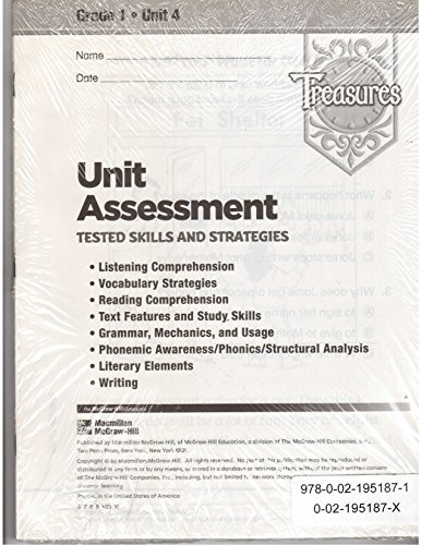 Treasures: Unit Assessment: Tested Skills and Strategies: Grade 1: Unit 4: 10 Pack