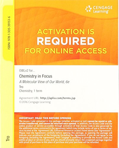 OWLv2 6-Month Printed Access Card for Tro's Chemistry in Focus: A Molecular View of Our World, 6th